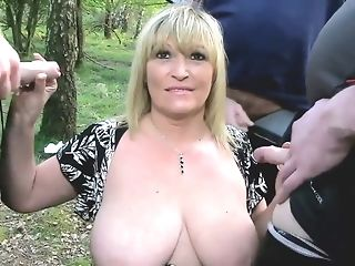 Saucy cougar takes out her ample tits and oral jobs 3 fuck-sticks outdoors freeporn