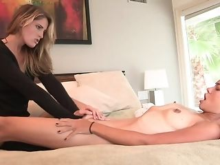 Tasty lezzies probe each other figures in couch porn tube